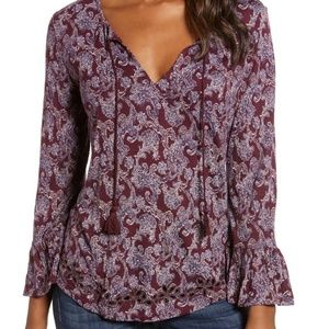 Lucky Brand Printed Tie Neck Top Mauve Pattern S